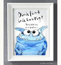 Kunstdruck A4 Kleines Monster Dich find ich lustig von ABOUKI Art Factory auf DaWanda.com