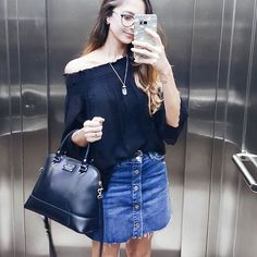 Saia de botões e blusa ombro a ombro da liquida Zara   Insta @luvmayblog