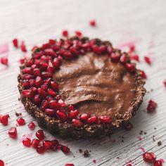Mini Chocolate Tarts with Dark Chocolate Custard and Pomegranates