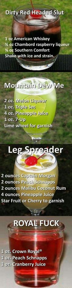 I hate the names but some of these cocktails sound good! Liquor Drinks, Cocktail Drinks, Cocktail Recipes, Cocktail Ideas, Alcohol Drink Recipes, Non Alcoholic, Alcoholic Beverages, Summer Drinks, Mixed Drinks