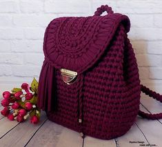 Surprisingly nice backpack gray pink color will become your indispensable companion! You will fall in love at first sight this accessory! It is made of knitting yarn. Dimensions of bag: length height width Shipping time - 2 weeks! I buy on Crochet Backpack Pattern, Crochet Shoes Pattern, Bag Pattern Free, Crochet Patterns, Crotchet Bags, Knitted Bags, Crochet Handbags, Crochet Purses, Crochet Art