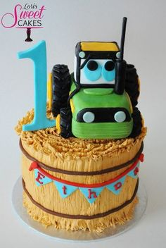 What a cute tractor on his hay bale Cake