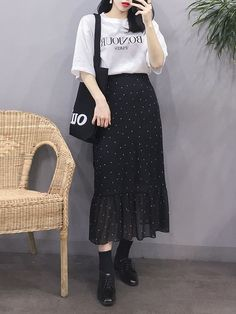 Look at this Stylish korean fashion outfits Korean Fashion Trends, Korean Street Fashion, Korea Fashion, Asian Fashion, Daily Fashion, Fashion Online, Modest Dresses, Modest Outfits, Modest Fashion