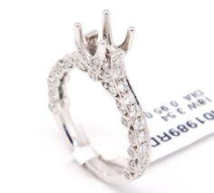 Unique 18k White Gold 0.95tcw Pave Diamond Engagement Semi Mount Bridal Ring,6.5