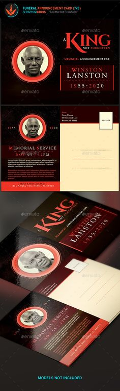 King Funeral Announcement Card Template - #Cards & #Invites Print Templates