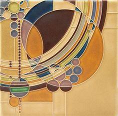 8x8 Motawi = March Balloons Tile (Oak) in  Morris Oak Frame - Frank Lloyd Wright