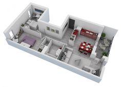Plano casa pequeña dos habitaciones 01
