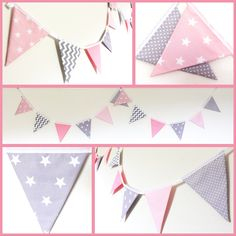 How cute is this new pink and grey nursery bunting.