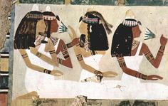 Detail from the tomb of Neferenpet. Judging by their wigs, jewelry and presentation, these women are high status