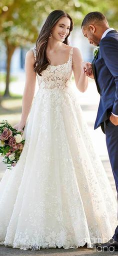 Romantic sleeveless lace ball gown wedding dress with straps and square neckline | Bride and groom photo | Martina Liana Fall 2020 Wedding Dresses - Style 1244 - Belle The Magazine #weddingdress #weddingdresses #bridalgown #bridal #bridalgowns #weddinggown #bridetobe #weddings #bride #dreamdress #bridalcollection #bridaldress #dress See more gorgeous bridal gowns by clicking on the photo A Line Bridal Gowns, Wedding Dresses With Straps, Princess Wedding Dresses, Wedding Dress Styles, Designer Wedding Dresses, Bridal Dresses, Wedding Gowns, Gorgeous Wedding Dress, Beautiful Dresses