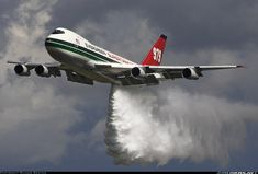 Boeing 747-132(SF). The Evergreen B747 Supertanker during a water drop demo at Frankfurt
