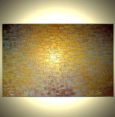 Gold Palette Knife Painting Original Abstract Art by Laffertyart, $145.00