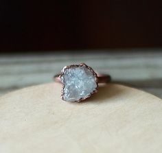 Raw Crystal Ring Celestite Ring Raw Stone by AmandaLeilaniDesigns, $55.00