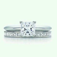 Tiffany & Co princess cut diamond engagement ring & diamond wedding band- this will be my wedding set