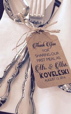 Thank You For Sharing Our First Meal Silverware Tags, Wedding Thank You Tags, Wedding Reception Table Decor (Set of - Wedding decorations - tischdekoration hochzeit Wedding Reception Table Decorations, Beach Wedding Reception, Wedding Table Settings, Decor Wedding, Wedding Ideas, Reception Invitations, Nautical Wedding, Wedding Receptions, Bridal Ahower Decorations