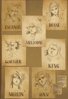 Seven Deadly Sins ~ Wanted Posters of Merlin (Sin of Glutton), King (Sin of Sloth), Ban (Sin of Greed), Mediolas (Sin of Wrath), Gowther (Sin of Lust), Diane (Sin of Envy), and Escanor (Sin of Pride)