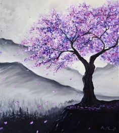 Mor/Purple Wallpapers ⚘ Easy Landscape Paintings, Simple Acrylic Paintings, Art Paintings, Abstract Tree Painting, Abstract Art, Abstract Watercolor, Abstract Landscape, Purple Trees, Purple Art