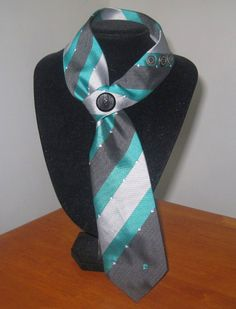 Upcycled womens necktie in green, silver and dark grey - unique loop style.  via Etsy.