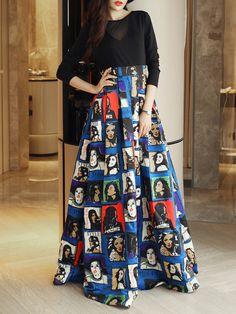 Multicolor Crew Neck Printed Long Sleeve Swing Maxi Dress