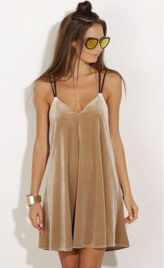 Champagne Velvet Party Dress