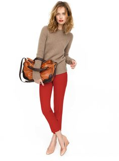 I love this entire outfit.  Red lips! Red pants! Nude shoes!  Soft, neutral sweater!  cross body bag. LOVE. IT.
