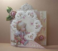 3d Cards, Easel Cards, Wine Cork Art, Embroidery Cards, Baby Images, Marianne Design, Welcome Baby, Baby Scrapbook, Baby Design
