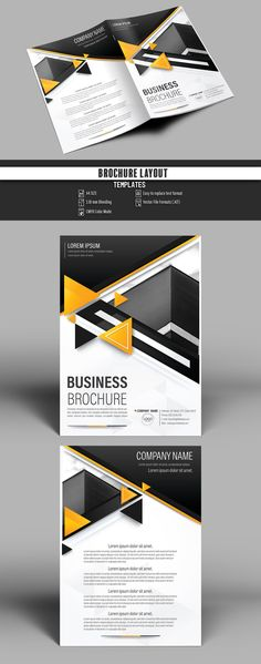 Brochure Cover Layout with Black and Orange Accents - image | Adobe Stock #Brochure #Business #Proposal #Booklet #flyer #template Design layout | Brochure template | Brochure design template | Flyers | Template | Brochures | Flyer Background | Background design | Business Proposal | Proposal Design | Booklet | Professional | Professional - Proposal - Brochure - Template