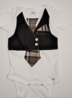 Rylo Black vest with plaid brown and cream tie and cute hanky pocket. Perfect for Wedding  by RYLOwear, $22.00