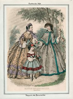 In the Swan's Shadow: Magasin des Demoiselles, September 1861.  Civil War Era Fashion Plate