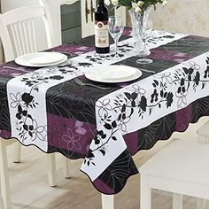Adding purple accents to existing decor is simple, easy, and can be very inexpensive and it adds a pop or color and a regal touch to any room    ColorBird Country Style Floral Flannel Backed PVC Tablecloth Easy Care Oilproof Table Cover for Kitchen Dinning Tabletop Decor (Rectangle/Oblong, 54