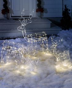 "3-Pc. Outdoor Lighted Reindeer Family  - Reindeer Outdoor Christmas Decorations   | eBay  The 3-Pc. Outdoor Lighted Reindeer Family is an endearing addition to your outdoor Christmas Decorations. Each has a sturdy metal frame that's covered in LED lights. Use the included 4"" stakes to keep them in place all season long."