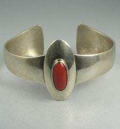 Cuff | Frank Patania Sr. Sterling silver and coral. ca. 1955 || Source ~ http://www.ebay.com/itm/ws/eBayISAPI.dll?ViewItem&item=130989294236