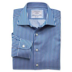 Robinson royal and white stripe business casual slim fit shirt   Men s  dress shirts from Charles 566bdc3c2ab3