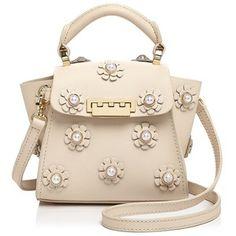 Zac Zac Posen Eartha Iconic Faux-Pearl Floral Applique Top Handle Mini Leather Crossbody