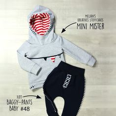 Ein maritimes Kinder Outfit aus Mini Mister (Hoodie) & Baggy-Pants-Baby (Hose)