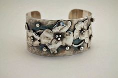 Cuff | Gail Williams.  'Morning in May'.  Sterling and oxidized silver.