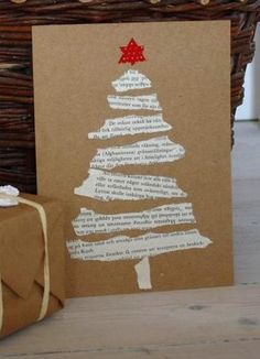 Easy DIY Holiday Crafts - Old Hymnal Tree - Click pic last . - Easy DIY Holiday Crafts – Old Hymnal Tree – Click pic for 25 Handmade Christmas Cards Ideas for - Christmas Card Crafts, Homemade Christmas Cards, Christmas Gift Wrapping, Christmas Projects, Holiday Crafts, Christmas Ornaments, Ornaments Ideas, Christmas Cards Handmade Kids, Cool Christmas Cards