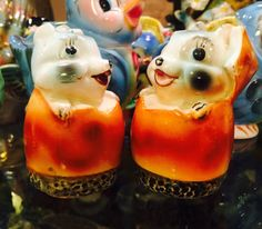 Vintage Anthropomorphic Squirrels in Acorns Salt and Pepper Shakers by Norcrest