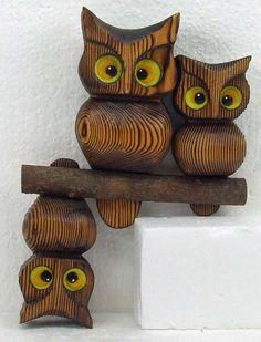 Vintage Kitsch Retro Hanging Wood Owl Two by RetroCentsStudio
