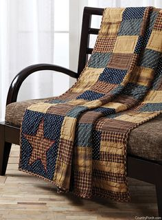 Shop for Red Primitive Decor VHC Patriotic Patch Throw Rod Pocket Cotton Patchwork. Get free delivery On EVERYTHING* Overstock - Your Online Fashion Bedding Store! Colchas Country, Country Quilts, Country Decor, Primitive Country, Primitive Quilts, Primitive Homes, Rustic Quilts, Primitive Decor, Primitive Bedding