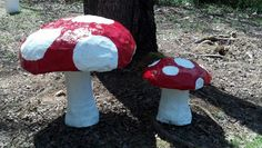 Paper mache mushrooms for Alive in Wonderland party