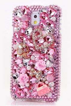 Cute Unique Samsung Galaxy Note 2 case Pink bling pearl phone cover for teens! http://luxaddiction.com/collections/3d-designs/products/crystal-heart-with-litter-pink-purse-design-style-368