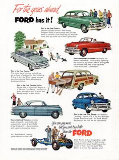Kunstwerk: Ford Model Line-up' van Natasja Tollenaar Ford Motor Company, Pub Vintage, Vintage Stuff, Ford Convertible, Ford Classic Cars, Classic Auto, Car Advertising, Advertising Archives, Car Posters