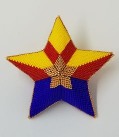 Arizona Star Kit Arizona Flag, Rings N Things, Old Glory, Peyote Patterns, Peyote Stitch, Red And White Stripes, Some People, Glass Ornaments, Fireworks