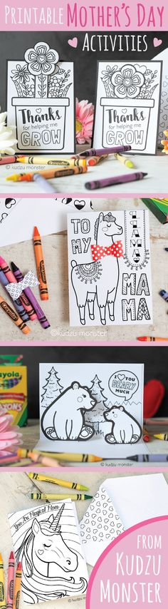 Unique coloring cards and printable mother's day activities for kids to give mom this Mother's Day! Llama with 3D bowtie, growing flower pot card, matching envelopes, coloring pop up DIY Mama bear card, Unicorn magical Mom card and more!