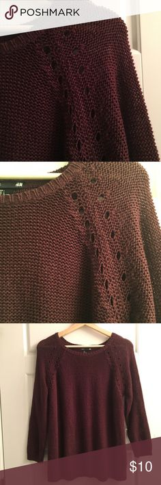 H&M burgundy open knit sweater Open knit burgundy sweater. Detail at shoulder. Arms and sides have been taken in to help with the fit! See last pic of the sleeve... size large. I'd say it still fits like an oversized medium or a large. H&M Sweaters Crew & Scoop Necks