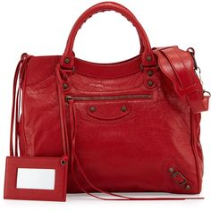 Balenciaga Classic Velo Crossbody Bag ($1,935) ❤ liked on Polyvore featuring bags, handbags, shoulder bags, red, leather cross body handbags, genuine leather handbags, red leather handbag, leather crossbody and leather shoulder handbags