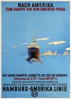 HAPAG New York America Cup, 1937 - original vintage poster by Albert Fuss listed on AntikBar.co.uk