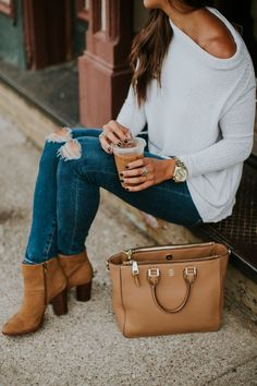Off the Shoulder Fall Pullover | A Southern Drawl tan booties, purse, ripped jeans, cold shoulder top, fall style