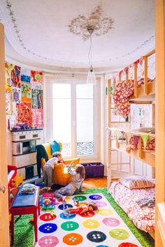 A Colorful and Creative Shared Kids' Room in Paris | The Jungalow